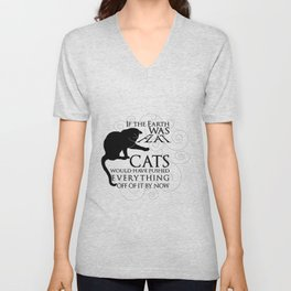 Cats on the Flat Earth Unisex V-Neck
