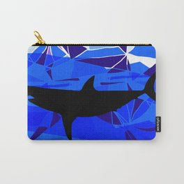 Shark art Geometric art Blue sea ocean art Triangles art Carry-All Pouch