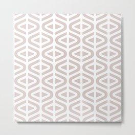 Mid Century Modern Split Triangle Pattern Light Beige Metal Print