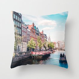 Colorful Amsterdam Canals | Europe Travel City Urban Landscape Photography Throw Pillow