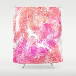 Trendy coral pink watercolor hand drawn palm tree  Shower Curtain