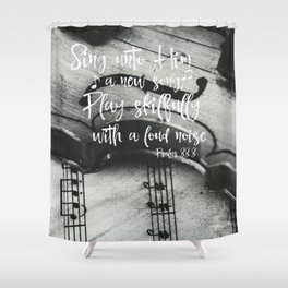 Violin with Psalms Bible Verse Shower Curtain