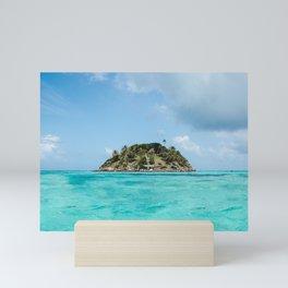 Turquoise water on paradise island of Crab Cay near Isla Providencia, Colombia, in the Caribbean Sea Mini Art Print
