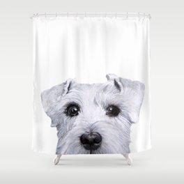 Schnauzer original Dog original painting print Shower Curtain