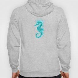Intricate Teal Blue Tribal Seahorse Design Hoody