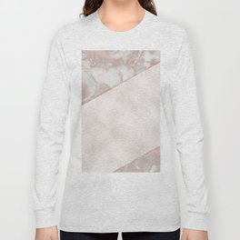 French polished rose gold marble & pearl Long Sleeve T-shirt