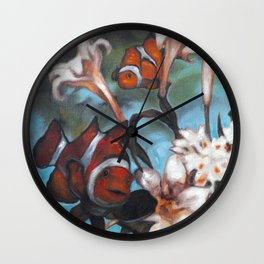 Clown Lillies Wall Clock