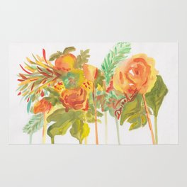 Peachy Bouquet of Flowers Rug