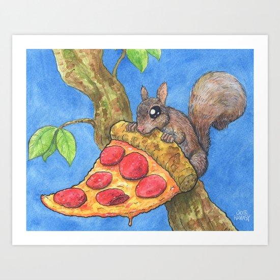 The North American Pizza Squirrel Art Print