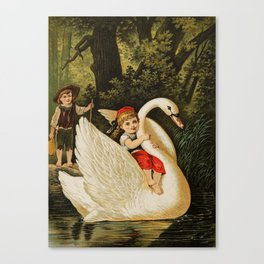 Hansel & Gretel With Swan Canvas Print