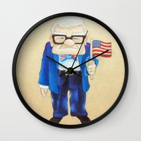 carl sagan Wall Clocks featuring Patriotic Carl by Drawtoinfinite's Art
