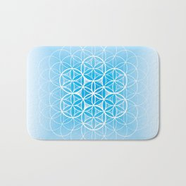 THE FLOWER OF LIFE - MANDALA ON BLUE Bath Mat