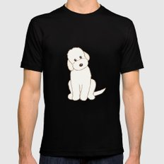 Cream Labradoodle Dog Illustration Mens Fitted Tee MEDIUM Black