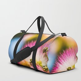 Exotic summer pink silk tree mimosa Duffle Bag