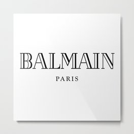 Balmain Paris Black Logo Metal Print