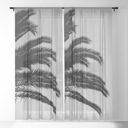 Palm Leaves Sunset Dream #3 #tropical #decor #art #society6 Sheer Curtain