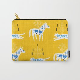 Folk cat on yellow Carry-All Pouch