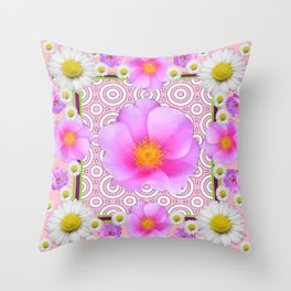 Pink on Pink Rose & Shasta Daisies Floral Abstract Throw Pillow