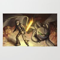 hiccup Area & Throw Rugs featuring httyd2: To Battle by Eva Gudmunds
