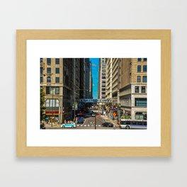 Cartoony Downtown Chicago Framed Art Print