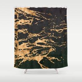 24-Karat Gold Veins on Black Suede Marbled Pattern Shower Curtain