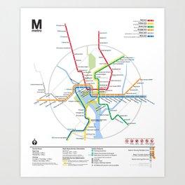 Washington Metro Map Art Print