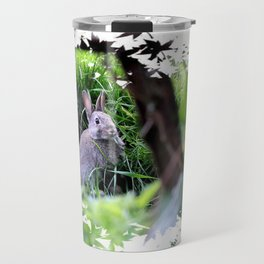 Rabbit hiding in long grass Travel Mug