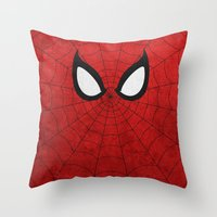 spider man Throw Pillows featuring Spider-Man by theLinC