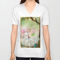westie V-neck T-shirts featuring Best Friends Westie Squirrel ~ West Highland White Terrier by Ginkelmier