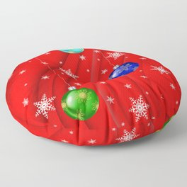 Christmas balls with background Floor Pillow