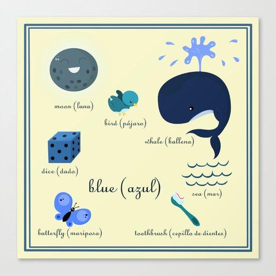 Colors: blue (Los colores: azul) Canvas Print