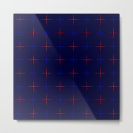 Glowing blue and red stars on dark blue background. Metal Print