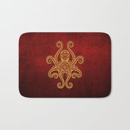 Intricate Red and Yellow Octopus Bath Mat