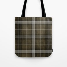 Grungy Brown Plaid Tote Bag