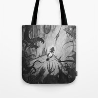 monsters Tote Bags featuring Monsters by Michael Brack