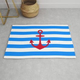 Red Anchor on Navy Blue Stripes Rug