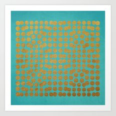 Gold Dots on Turquoise Art Print