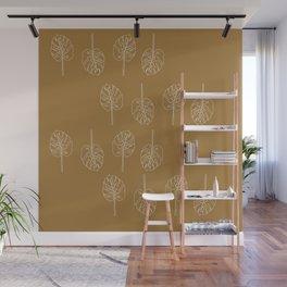 Minimal Mustard Monstera Pattern Wall Mural