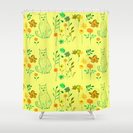 Cat in the garden - Pattern Shower Curtain