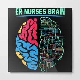 ER Nurse Brain Metal Print