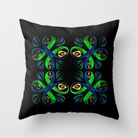 poison ivy Throw Pillows featuring Poison Ivy by Pani Grafik