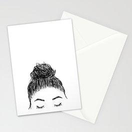 messy girl bun Stationery Cards