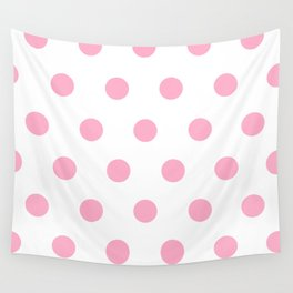Pink Polka Dot Design Wall Tapestry
