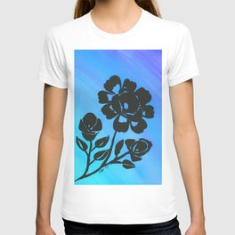 Rose Silhouette with Painted Blue Background T-shirt