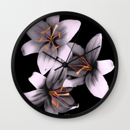 Black and White Ant Lilies Flower Scanography Wall Clock