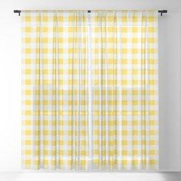 Yellow and White Buffalo Check Sheer Curtain