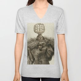 African-American Classical Masterpiece 'J'Accuse #7' by Charles White Unisex V-Neck