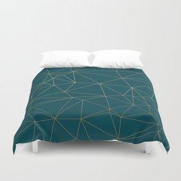 Benjamin Moore Hidden Sapphire Gold Geometric Pattern Duvet Cover