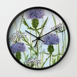 Thistle White Lace Watercolor Wall Clock