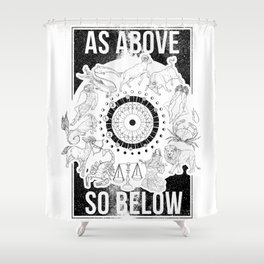 As Above, So Below - Zodiac Illustration Shower Curtain